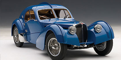 Bugatti, 57Sc, Atlantic, 1938, Blue, With, Metal, Wire, Spoke, Wheels, Miniature, Diecast, Scale, Model, Cars, India, Automania