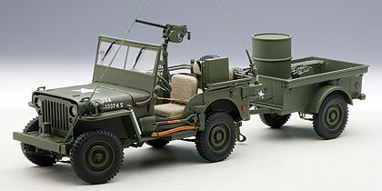 Jeep, Willys, Army, Green, With, Trailer, Accessories, Included, Miniature, Diecast, Scale, Model, Cars, India, Automania