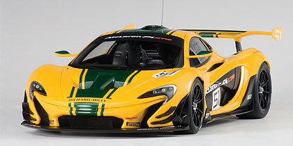 Mclaren, P1, Gtr, Geneva, Motor, Show, 2015, Yellow, Green, Stripes, No., 51, Miniature, Diecast, Scale, Model, Cars, India, Automania